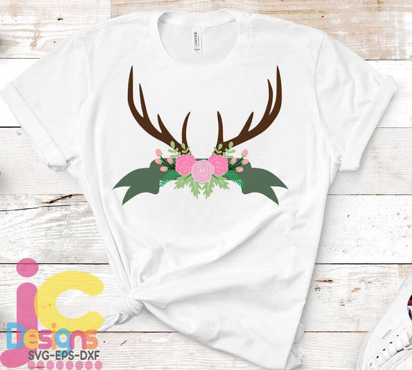 Foral Deer Antler Swag SVG, EPS, DXF and PNG - JenCraft Designs
