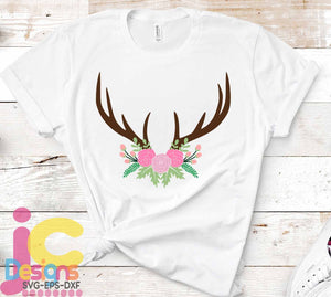 Deer Antler Floral Swag SVG, EPS, DXF and PNG - JenCraft Designs