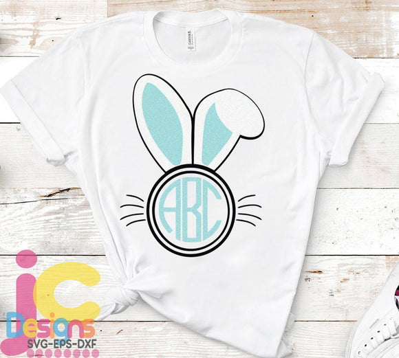 Bunny Ears Monogram Frame SVG, EPS, DXF and PNG - JenCraft Designs