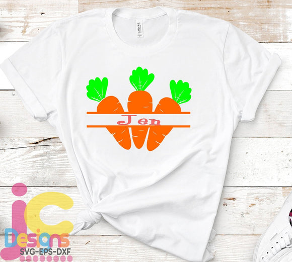 Easter Carrot Split Monogram SVG, EPS, DXF and PNG - JenCraft Designs