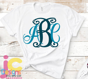 Curly Locking Monogram AlphaBet SVG, EPS, DXF and PNG - JenCraft Designs