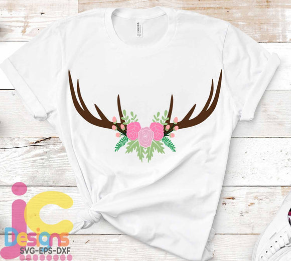 Floral Antler Swag SVG, EPS, DXF and PNG - JenCraft Designs