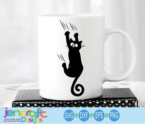 Hanging Black Cat SVG, EPS, DXF and PNG - JenCraft Designs