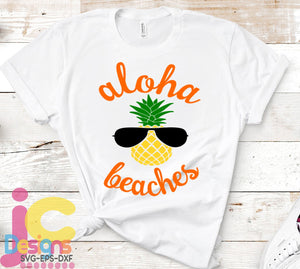 Aloha Beaches Pineapple SVG, EPS, DXF and PNG - JenCraft Designs