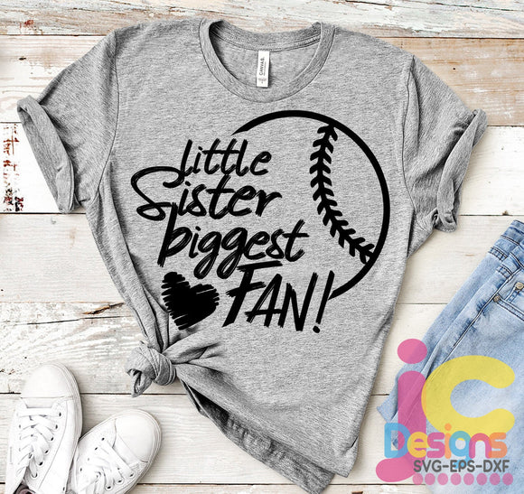 Baseball Little Sister Biggest Fan SVG, EPS, DXF and PNG - JenCraft Designs