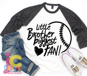 Baseball Little Brother Biggest Fan SVG, EPS, DXF and PNG - JenCraft Designs