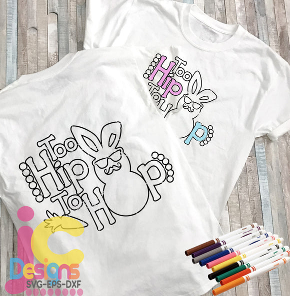 Too hip to hop Coloring Easter Design SVG, EPS, DXF and PNG - JenCraft Designs