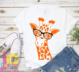 Giraffe with Glasses SVG, EPS, DXF and PNG - JenCraft Designs