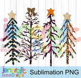 Cheetah Christmas Tree PNG Sublimation Design - JenCraft Designs