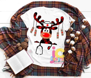 Buffalo Plaid Nurse Moose SVG, EPS, DXF and PNG - JenCraft Designs