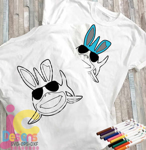 Bunny Shark Coloring Design SVG, EPS, DXF and PNG - JenCraft Designs
