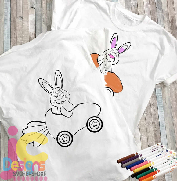 Easter Bunny Coloring Design SVG, EPS, DXF and PNG - JenCraft Designs