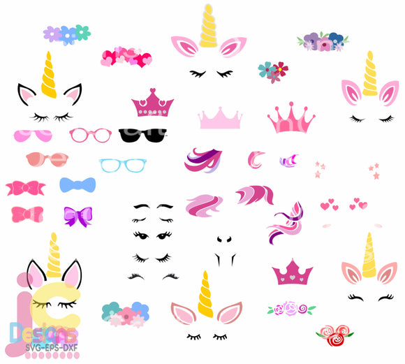 Unicorn Kit SVG, EPS, DXF and PNG - JenCraft Designs