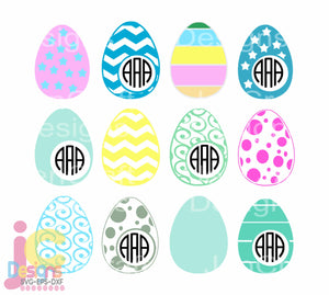 Easter Egg Monogram Frame SVG, EPS, DXF and PNG - JenCraft Designs