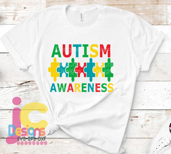 Autism Awareness Puzzle SVG, EPS, DXF and PNG - JenCraft Designs