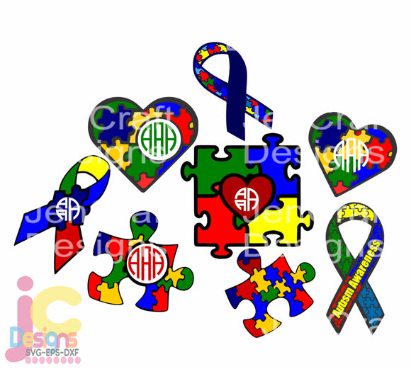 Autism Awareness Monogram Frame SVG, EPS, DXF and PNG - JenCraft Designs