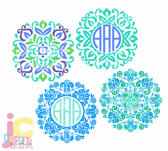 Mandala Monogram Frame SVG, EPS, DXF and PNG - JenCraft Designs