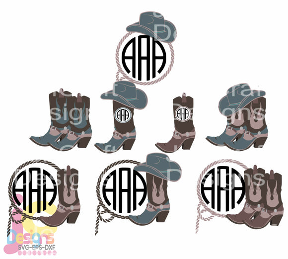 Cowboy Boots Monogram Frame SVG, EPS, DXF and PNG - JenCraft Designs