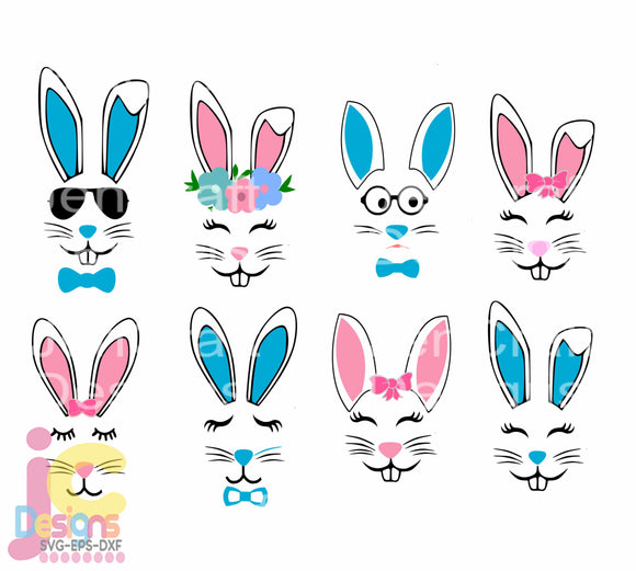 Easter Bunny Face SVG, EPS, DXF and PNG - JenCraft Designs