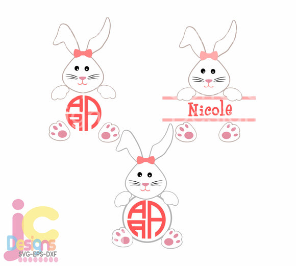 Easter Bunny Monogram Frame SVG, EPS, DXF and PNG - JenCraft Designs