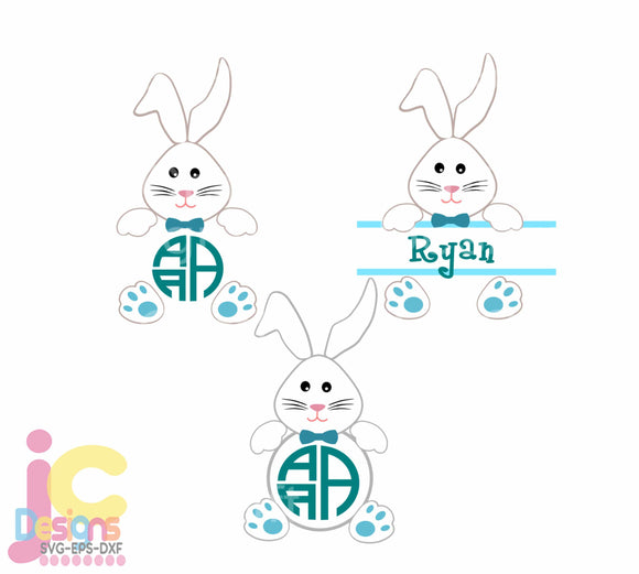 Easter SVG Bunny Boy Monogram Frames SVG, EPS, DXF and PNG - JenCraft Designs