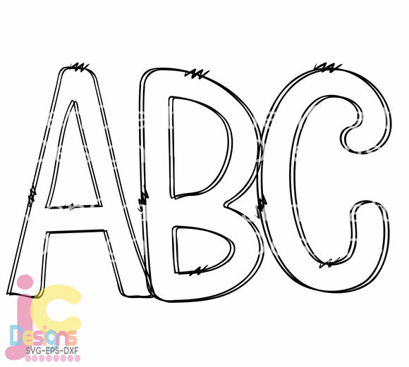 Doodle Letters AlphaBet SVG, EPS, DXF and PNG - JenCraft Designs