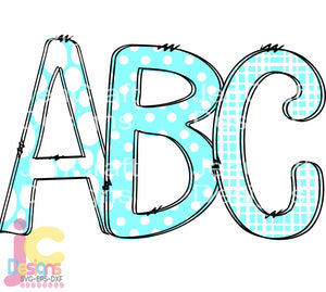 Teal Doodle Letters AlphaBet Sublmiation Design - JenCraft Designs