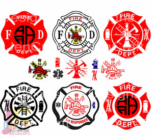 Fireman Monogram Frame SVG, EPS, DXF and PNG - JenCraft Designs
