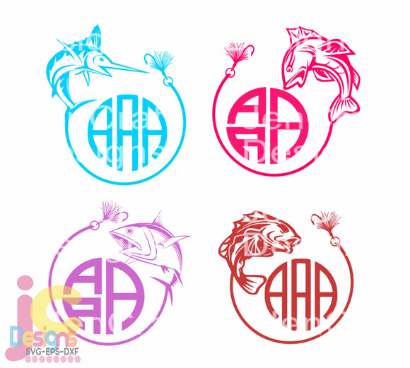 Fish Monogram Frame SVG, EPS, DXF and PNG - JenCraft Designs