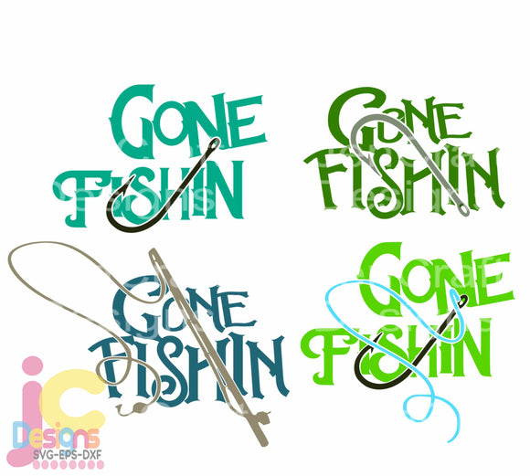 Gone Fishing Bundle SVG, EPS, DXF and PNG - JenCraft Designs
