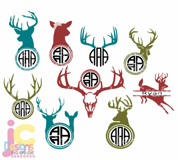 Deer Monogram Frame SVG, EPS, DXF and PNG - JenCraft Designs
