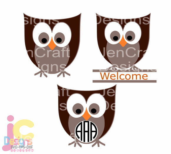 Owl Monogram Frame SVG, EPS, DXF and PNG - JenCraft Designs