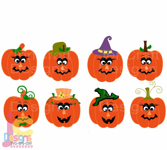 Pumpkin Funny Face SVG, EPS, DXF and PNG - JenCraft Designs