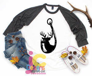 Deer in Fishing Hook SVG, EPS, DXF and PNG - JenCraft Designs