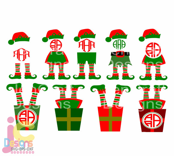 Christmas Elf Legs Monogram Frame SVG, EPS, DXF and PNG - JenCraft Designs