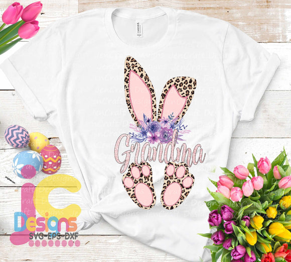 Grandma Cheetah Bunny Sublimation Design - JenCraft Designs