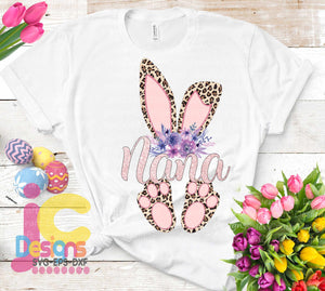 Nana Cheetah Bunny Sublimation Design - JenCraft Designs