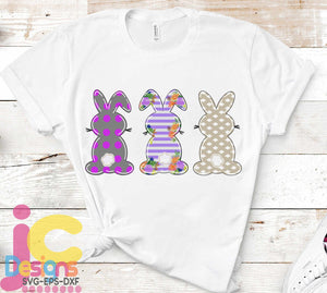 Easter Bunny Trio PNG Sublimation Design - JenCraft Designs