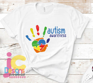 Autism Awareness Puzzle Hand SVG, EPS, DXF and PNG - JenCraft Designs