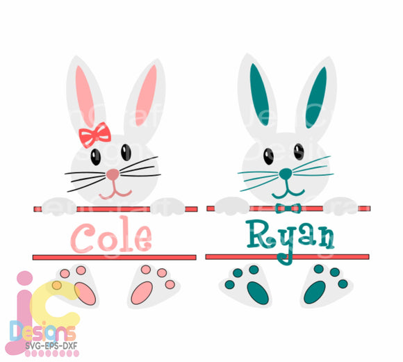 Easter Boy Girl Monogram Frame SVG, EPS, DXF and PNG - JenCraft Designs