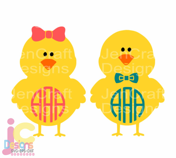 Baby Chick Monogram Frame SVG, EPS, DXF and PNG - JenCraft Designs