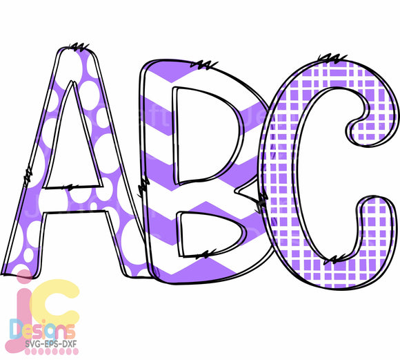 Purple Doodle Letters Alphabet Sublimation SVG, EPS, DXF and PNG - JenCraft Designs