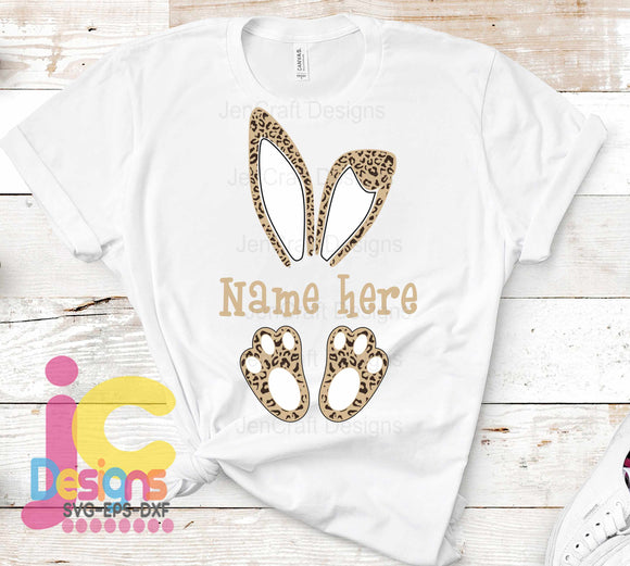 Easter Cheetah Bunny Monogram Frame SVG, EPS, DXF and PNG - JenCraft Designs