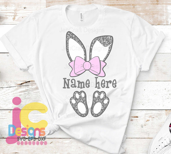 Easter Cheetah Bunny Ears and Feet SVG, EPS, DXF and PNG - JenCraft Designs