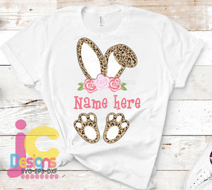 Easter Floral Cheetah Bunny Ears SVG, EPS, DXF and PNG - JenCraft Designs
