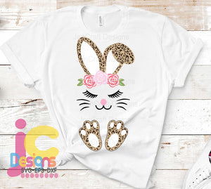 Easter Floral Leopard Print Bunny Face SVG, EPS, DXF and PNG - JenCraft Designs