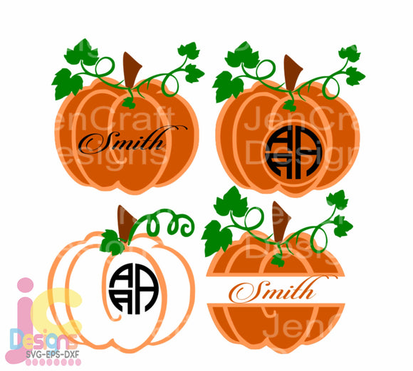 Fall Pumpkin Monogram Frame SVG, EPS, DXF and PNG - JenCraft Designs