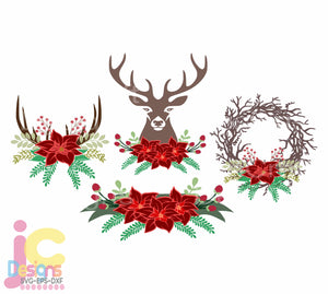 Christmas Floral Deer Antler Swag SVG, EPS, DXF and PNG - JenCraft Designs