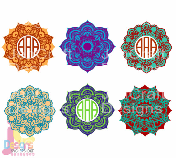 Zentangle Mandala Monogram Frame SVG, EPS, DXF and PNG - JenCraft Designs