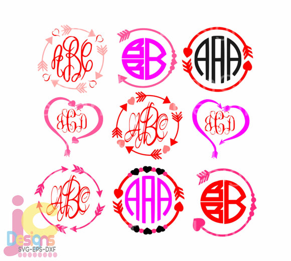 Arrow Heart Monogram Frame SVG, EPS, DXF and PNG - JenCraft Designs